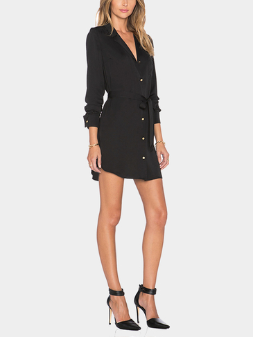 Black Belted Shirt Mini Dress