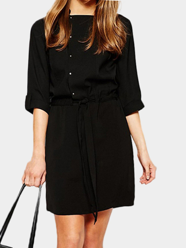 Black 3/4 Length Sleeves Midi Dress With Self-tie Waist