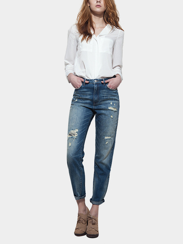 High Waist Rips Shredded Jeans