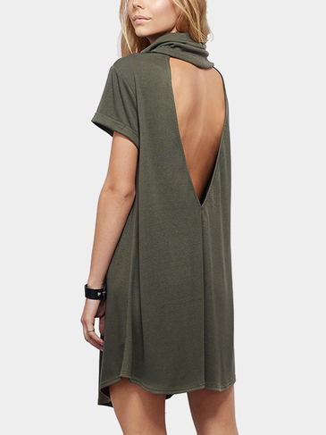 Olive Green Turtle Neck Dress with Plunge Back