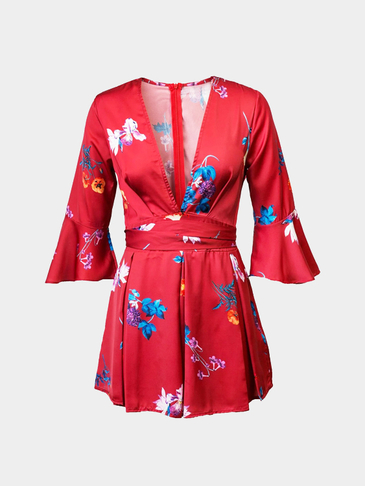 V-neck Playsuit with Flared Sleeves