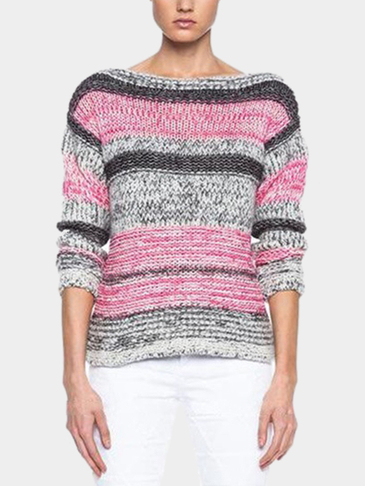 Random Stripe Pattern Round Neck Jumper