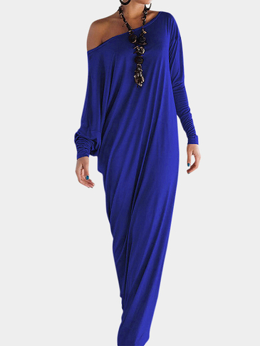 Blue Pleated Side Split Long Sleeve Party Dress