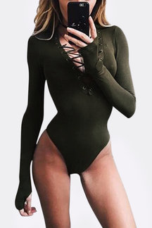 Army Green Sexy Hollow Crosssed Front Bodysuit