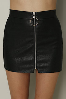 Black Fashion PU Circle Zipper Front Mini Skirt