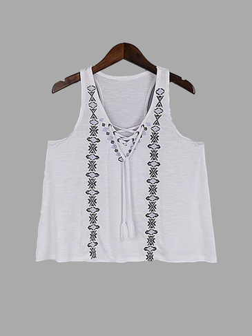 White Lace-up Embroidered Design Vest with Tassel