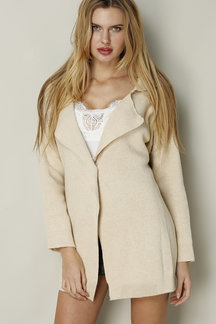 Beige Knit Lapel Collar Loose Trench Coat