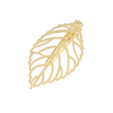 Hollow Out Leaf Hair Clip in Gold