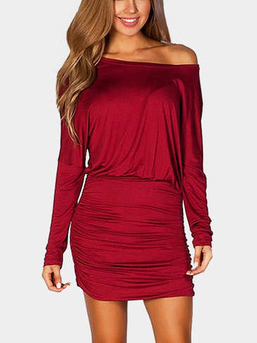 Red Long Bat-wing Sleeve Pleated Casual Mini Dress