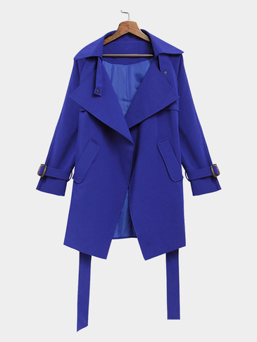 Blue Self-tie Waist Button Details Lapel Collar Coat
