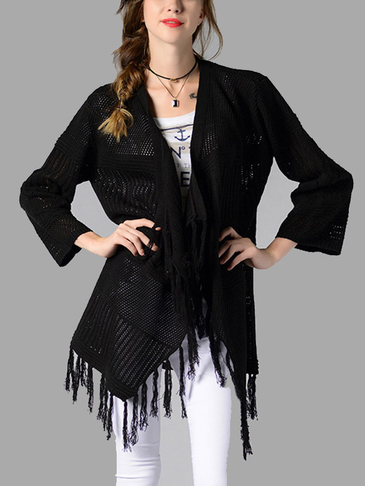 Black Fashion Long Sleeves Open Front Knitwear with Tassel Details