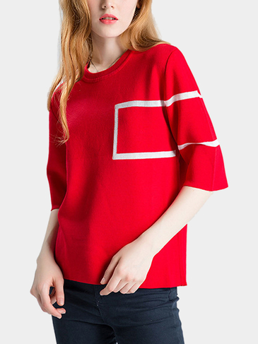 Red 1/2 Sleeve Knitted Sweater