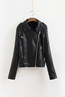 Leather Biker Jacket with Back Print
