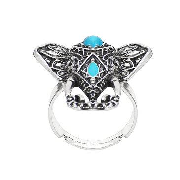 Elephant Pattern Turquoise Stone Adjustable Ring