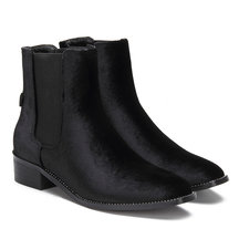 Black Fashion Velvet Chelsea Ankle Boots