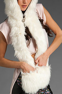 White Faux Fur Animal Hat With Scarf