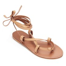 Apricot Cross Leather Look Toe Post Lace-up Flat Sandals