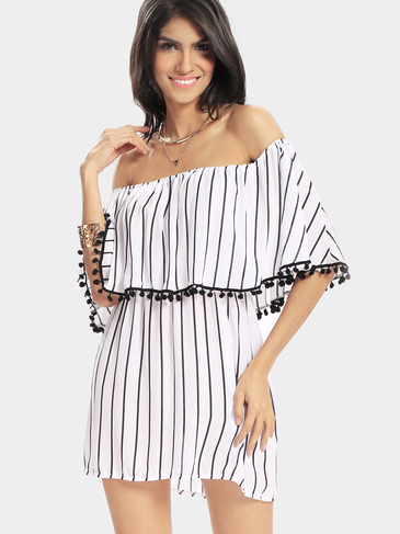 Off The Shoulder Stripe Pattern Dress