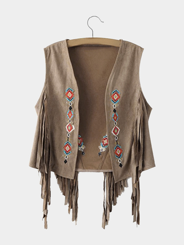 khaki Embroidery Pattern Coat With Tassels Details
