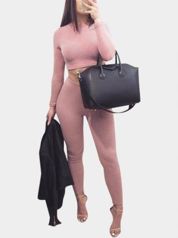 Fashion Pink Crew Neck Bodycon Crop Top Co-ord