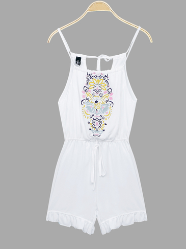 White Sleeveless Playsuit with Drawstring Waist