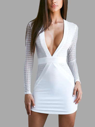 White Deep V-neck Long Sleeves Mini Dress with Lace Details
