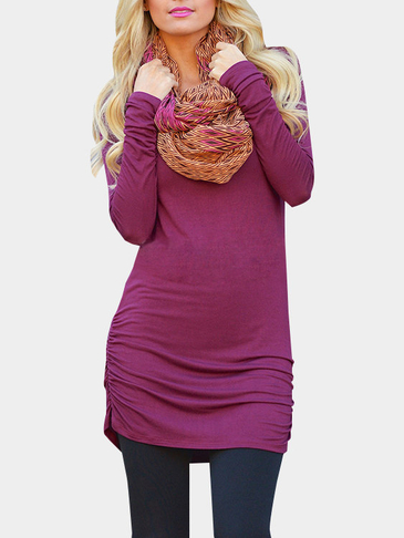 Purple Casual Round Neck Ruffled Dress