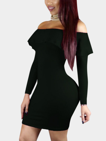 Черный Sexy с плеча Flouncy Хем Bodycon платье