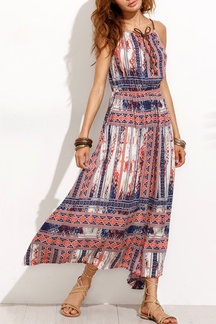 Bohemia Vintage Pattern Lace-up Maxi Dress