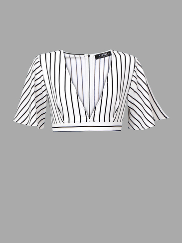 Plunge V-neck Stripe Crop Top with Belt