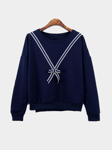 Dark Blue Loose Fit Knot Pattern Front Sweatshirt