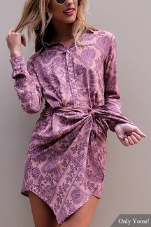 Random Floral Print Self-tie Knot Front Irregular Hem Shirt Dress