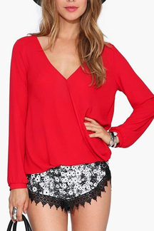 V-neck High Low Hem Blouse in Red