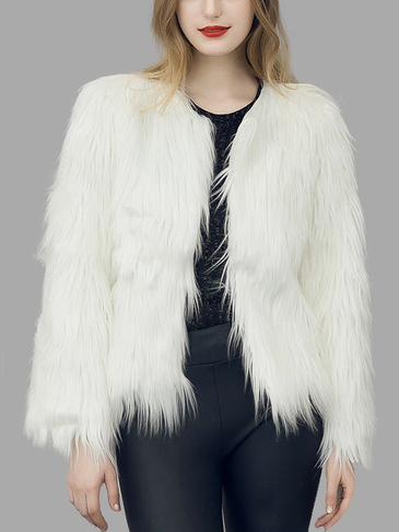 White Fashion Long Sleeves Artificial Fur Coat