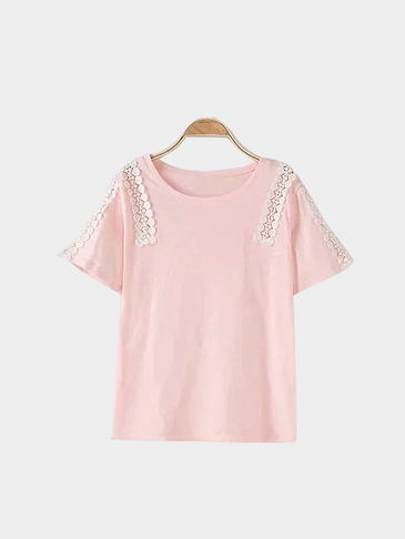 Pink Loose Casual Hollow Out Details Lace Design T-shirt