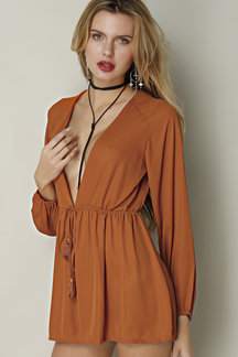 Semi Sheer Plunging Neckline Drawstring Waist Long Sleeves Playsuit