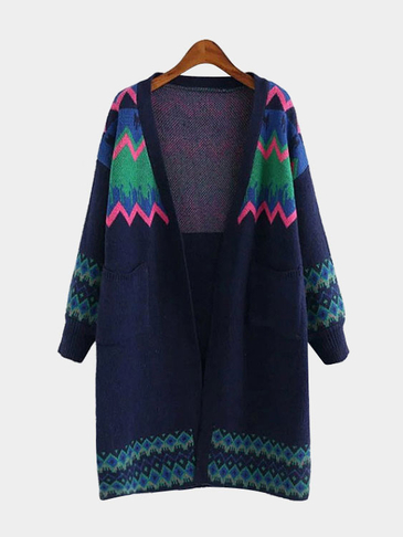 Random Print Long Length Open Front Cardigans in Dark Blue