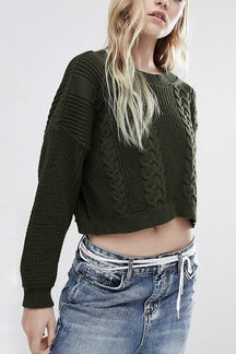 Army Green Twist Дизайн вокруг шеи Crop Top Перемычки