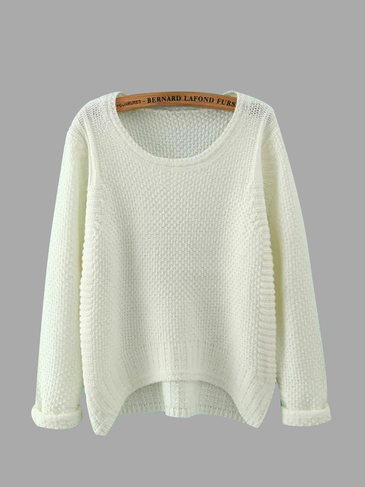 Waffle Knit Sweater in White