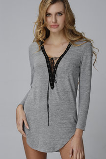 Grey Deep V Plunge Lace-up Front Hollow Design Mini Dress