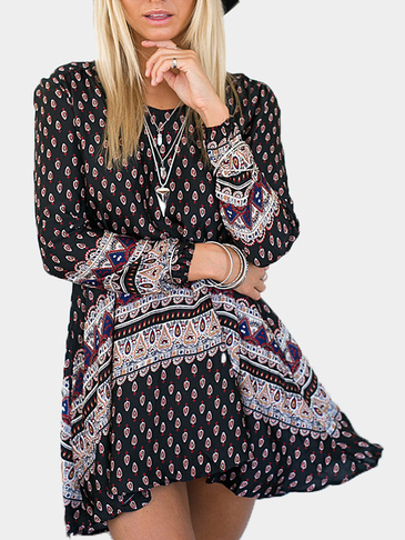 Vintage Printing Long Sleeves Dress