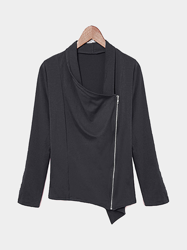 Long Sleeve Top in Dark Grey with Asymmetric Zip Fastening