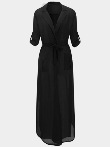 Black Plunge V-Neck Belted Maxi Chiffon Dress