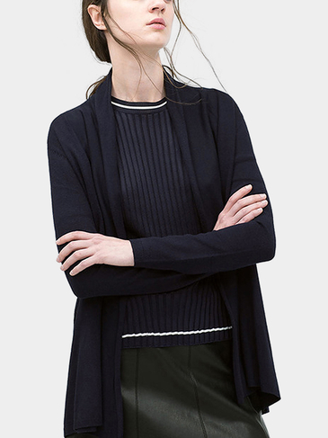 Navy Oversized Cardigan in Fine Knit