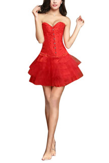 Red Bride Body Corset with Lace-up Back
