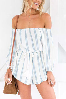 Stripe Pattern Off-shoulder Long Sleeves Waist Tie With Tassel Playsuit