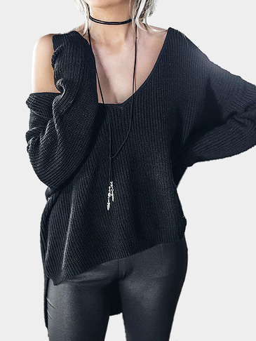 Black V-neck Irregular Hem Plunge Jumper