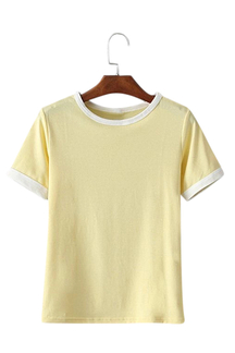 Yellow Round Neck Simple T-shirt