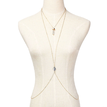 Artificial Diamond Embellished Necklace Body Chain