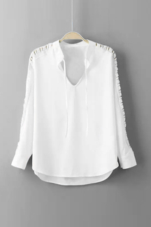 Shoulder Lace Insert  Blouse With Lace-up Details